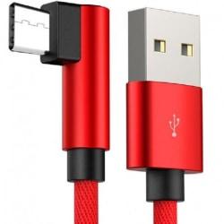 3m Slitstark Flätad Metallic USB-C Kabel Quick Charge 3.0 Svart