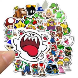 50-PACK Nintendo Super Mario Vattentåliga Klistermärken Vit