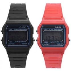 Digital Retro Armbandsur Svart