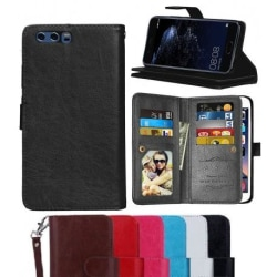 Huawei P10 Praktisk Plånboksfodral med 11-Fack Array® Svart