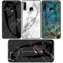 Huawei P30 Lite Marmorskal 9H Härdat Glas Baksida Glassback® V2 Transparent Variant 4