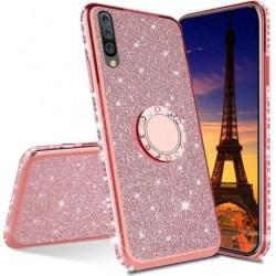 Huawei P30 Lite Stötdämpande Skal med Ringhållare Strass Rosa guld