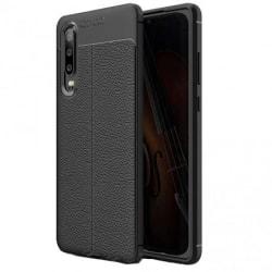 Huawei P30 Stöttåligt & Stötdämpande Skal LeatherBack® Svart