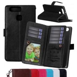 Huawei P9 Praktisk Plånboksfodral med 11-Fack Array® Svart
