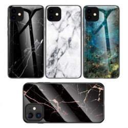 iPhone 12 Mini Marmorskal 9H Härdat Glas Baksida Glassback® V2 Black Variant 1