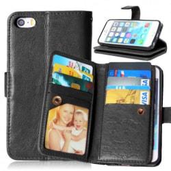 iPhone 5/5S/SE Praktisk Plånboksfodral med 8-Fack Array® Svart