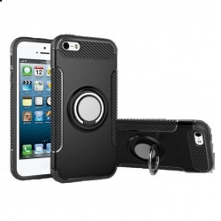 iPhone 5/5S/SE Praktisk Stöttåligt Skal med Ringhållare V2 Svart