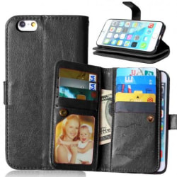 iPhone 6S Plus Praktisk Plånboksfodral med 11-Fack Array® Svart