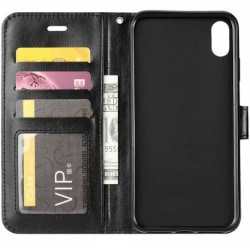 iPhone XR Plånboksfodral PU-Läder 4-FACK Black