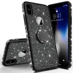 iPhone XS Max Stötdämpande Skal med Ringhållare Strass Rosenguld