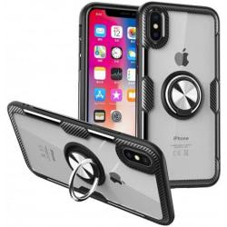 iPhone XS Praktisk Stöttåligt Skal med Ringhållare V4 Svart