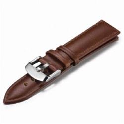 Klockarmband Brunt PU-Läder 18/20/22mm - Stålspänne