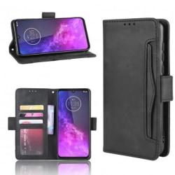 Motorola One Zoom Plånboksfodral PU-Läder 6-FACK Winston® V3 Svart