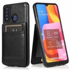 Samsung A20s Mobilskal Korthållare 5-FACK Retro® V3 Svart