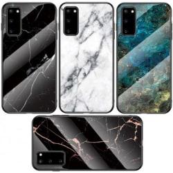 Samsung A41 Marmorskal 9H Härdat Glas Baksida Glassback® V2 Black Variant 1