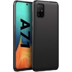 Samsung A71 Ultratunn Mjukt Gummibelagd Mattsvart Skal Svart