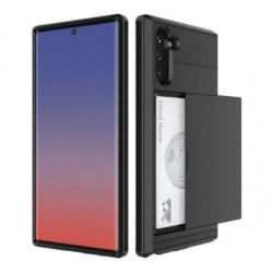 Samsung Galaxy Note 10 Stöttåligt Skal med Kortfack Svart