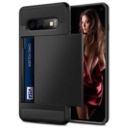 Samsung S10 Plus Stöttåligt Skal med Kortfack (SM-G975F) Svart