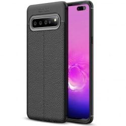 Samsung S10 Stöttåligt & Stötdämpande Skal LeatherBack® Svart