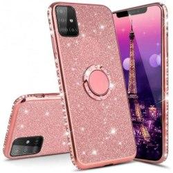 Samsung S20 Plus Stötdämpande Skal med Ringhållare Strass Rosa guld
