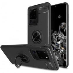 Samsung S20 Ultra Praktisk Stöttåligt Skal med Ringhållare V3 Svart