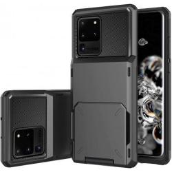 Samsung S20 Ultra Stöttåligt Skal med Kortfack Void® Svart