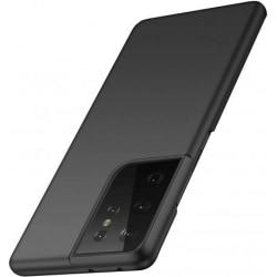 Samsung S21 Ultra Tunn Gummibelagd Mattsvart Skal Basic® V2 Svart