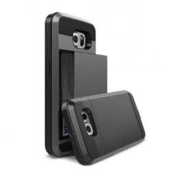 Samsung S6 Edge Stöttåligt Skal med Kortfack Turkos