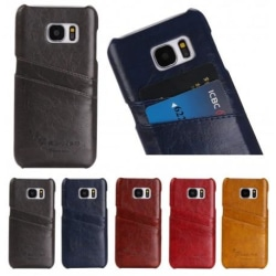 Samsung S7 Edge Stötdämpande Korthållare Retro® Svart