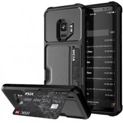Samsung S9 Plus Stöttåligt Skal med Kortfack Solid® V2 Svart