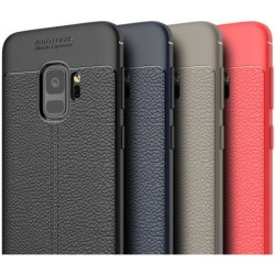 Samsung S9 Stöttåligt & Stötdämpande Skal LeatherBack® Svart