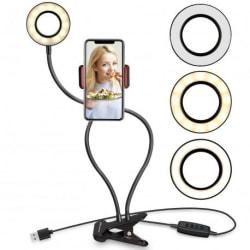 Selfie Ring Light med Mobilhållare för Live Stream/Makeup Svart