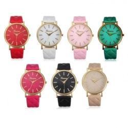 Stilren Klocka med Mönstrat Armband Rosa