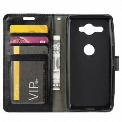 Xperia XZ2 kompakt plånboksfodral PU läder 4-FOCKET Svart