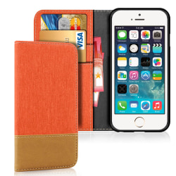 Apple iPhone 5 / 5s / SE Magnet Jeans Telefon Stötsäker Mobilska Orange