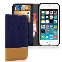 Apple iPhone 5 / 5s / SE Stötsäker Skydd Konstläder Korthållare  Mörkblå