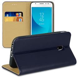 Bokväska med kortfack för Samsung Galaxy J3 (2017) J330 Konstläd Blå