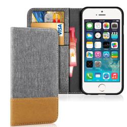 Denim Mobil-Skal för Apple iPhone 5 / 5s / SE Full Cover TPU Stö grå