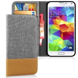 Denim Mobil-Skal för Samsung Galaxy S5 Stötsäker Telefon TPU Mob grå