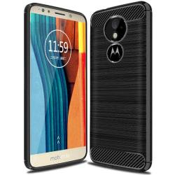 Enfärgat Kolfiber Skal för Motorola Moto G6 Play Gummi Mobilskal Svart