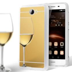 Glänsande Spegel Skal för Huawei Y5II Stötsäker Tunnt Silikon Sk Guld