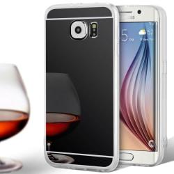 Glänsande Spegel Skal för Samsung Galaxy S6 Stötsäker TPU Telefo Svart