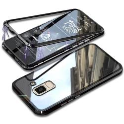 Hårt Skal för Samsung Galaxy J6 (2018) Plast Metall Härdat Glas  Svart