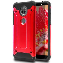 Hybrid Mobil Skal till Motorola Moto E5 Plus | Röd | TPU och Pla Röd