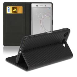 Kolfiber fodral för Sony Xperia XZ1 Compact Plånbok Konstläder K Svart