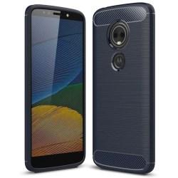 Kolfiber Skal för Motorola Moto E5 Stötsäker Telefon Gummi Armor Mörkblå