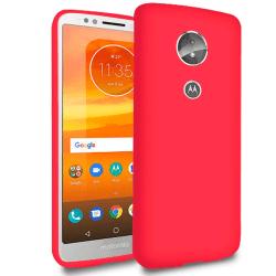Matt Mjukt Skal för Motorola Moto E5 Telefon Gummi Tunnt Mobil S Röd