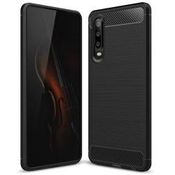 Mjukt Gummi Skal för Huawei P30 Mobil Telefon Enfärgat Mobilskyd Svart