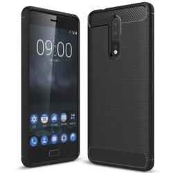 Mjukt Gummi Skal för Nokia 8 Mobilskydd Enfärgat Stötsäker Telef Svart