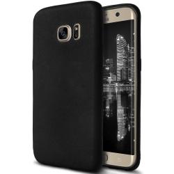 Mjukt Mobil-Skydd för Samsung Galaxy S6 Edge Enfärgat Svart Svart